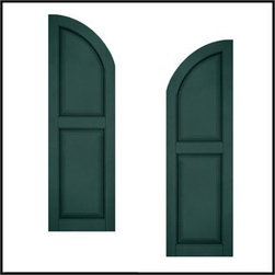 "Arched Two Panel Fiberglass Raised Panel Shutters - Raised Panel shutters offer a handsome, classic look for a variety of historic or modern home styles. The clean elegance and artistic depth of the panels and curves dramatically catch sunlight and impart alluring shadow. This popular two-panel design brings deep texture and a solid, artistic appeal. A wealth of options is available for added sophistication, limited only by your imagination. Additional options include: custom rail location, rabbeted edge, standard and custom cut-outs, butt hinge, and shaker panel addition. Shutters are available in heights up to 108"". Along with the Primed Finish option, we can color match for a $450.00 flat fee."