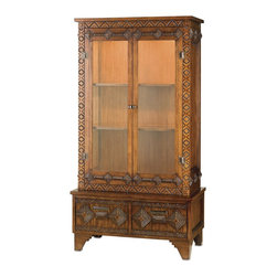 Currey & Company - Currey & Company Tramp Art Cabinet CC-3129 - Inspired by the American crafts movement of the late 19th century and early 20th century, this new collection consists of lighting and furniture created by hand. A popular movement during this time period was Tramp Art. All that was needed to create Tramp Art was patience, imagination, and a penknife. Currey & Company has reclaimed the tramp art method in a new way but with similar technique and materials. This cabinet is a wonderful example of wood notching associated with Tramp Art. Made of wood, this piece has the appearance of an authentic product from the 1920's.Wipe spills immediately with soft dry cloth. Always use coasters or mats. Never place cups, glasses or anything hot directly on the surface. This could cause discoloration.