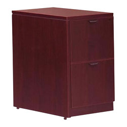 """Offices To Go - Offices to Go 2-Drawer Vertical Wood File Pedestal with Lock-American Cherry - Offices to Go - Filing Cabinets - SL22FFACL - This 2 file drawer pedestal is your perfect solution for your office with modern design details quality hardware and superior laminate finishes. The Laminate Pedestal comes with an American Mahogany or American Cherry finish and can be combined with similar pieces to create your own customized office suite. Made from the Offices to Go """"Superior Laminate"""" desking system it is manufactured exclusively in a certified factory made in the USA and has been tested to ensure compliance with all applicable industry standards. Please note that this item does not have a top and must be attached to a desking system."""