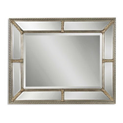 Uttermost - Lucinda Antique Silver Mirror - Holly Golightly would envy this mirror. Nine beveled mirrors surround this astonishing piece framed in antique silver leaf with a heavy beige wash to give it depth and character. It's guaranteed to attract attention in your space, just like her.