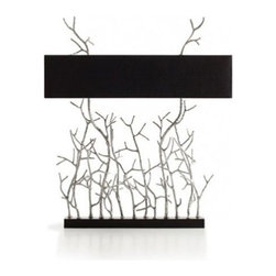 """Pieter Adam - Pieter Adam Twiggy XL Table Lamp - The Twiggy XL Table Lamp is designed and made by Pieter Adam. Modern and elegant, Twiggy is a collection that is based on nature's beauty. Inspiration was found in the organic nature of twigs. Available in three finish options. This fixture requries 2 x 40W E12 Incandescent or eco-friendly CFL. (not included).         Product Details: The Twiggy XL Table Lamp is designed and made by Pieter Adam. Modern and elegant, Twiggy is a collection that is based on nature's beauty. Inspiration was found in the organic nature of twigs. Available in three finish options. This fixture requries 4 x 40W E12 Incandescent or eco-friendly CFL. (not included). Details:                         Manufacturer:            Pieter Adam                            Designer:            Pieter Adam                            Made in:            Netherlands                            Dimensions:            Height: 35"""" (90 cm) X Width: 16"""" (70 cm)                            Light bulb:            4 x 40W E12 Incandescent (not included)                            Material:            Metal, Cotton"""