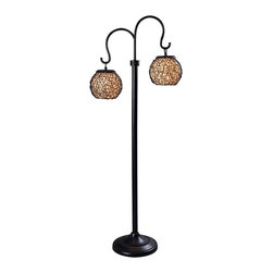 """Kenroy Home - Asian Kenroy Home Castillo Portable Outdoor Floor Lamp - Twin rounded shades are suspended from curved arms in this wonderful outdoor floor lamp design. Perfect for patios porch areas and more the Castillo outdoor floor lamp design is UL rated for wet locations and is made from all-weather fabrics and rustproof materials. A water-tight shield surrounds the bulb and the weighted base prevents it from tipping over in winds. The base has all-weather rattan around a center pillar of fabric. On-off weatherproof switch on pole. Design by Kenroy Home. Takes two 60 watt bulbs (not included). 62"""" high. 9"""" wide.  Castillo outdoor lamp.  Woven shade design.   Bronze finish.  UL rated for wet locations.  By Kenroy Home.  Weighted base.  On-off weatherproof switch on pole.  Takes two 60 watt bulbs (not included).   62"""" high.   9"""" wide."""