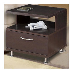 Nexera - Eclipse End Table - The contemporary rich dark Espresso finish of this end table will surely provide a refreshing look to your home. This impressive end table offers plenty of open and closed storage for all your home theatre components. Along with its superb storage options, this end table also boasts decorative metal handles and adjustable metal legs for optimal leveling. Features: -Stylish European metal handles and legs.-Drawer for CD/DVD or magazine storage.-Made of engineered wood.-Espresso finish.-Collection: Eclipse.-Distressed: No.-Country of Manufacture: Canada.Dimensions: -Overall dimensions: 20'' H x 18.63'' W x 19.75'' D.-Overall Product Weight: 43 lbs.