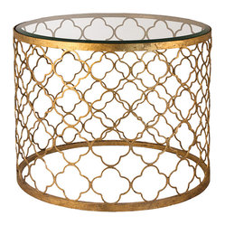 Kathy Kuo Home - Heston Hollywood Regency Gold Leaf Beveled Glass Round End Table - Summon the glamour of old-world Hollywood with this enchanting table. With a glass top and a gold leaf quatrefoil pattern, this table is the perfect place on which to set your after-work martini.