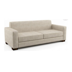 """Brenem 84"""" Sofa (Eco-Friendly) - Contemporary sofa that is made with 100% alder wood, all natural latex and eco wool, and comes in a large variety of natural or recycled fabrics. It's made in Los Angeles, and is natural from the inside out with no use of chemicals or fire retardants."""