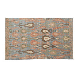 Sky Blue Area Rug, 100% Wool 6'X9' Hand Knotted Ikat Uzbek Design Rug SH8079 - Hand Knotted Ikat & Suzani Rugs are bold and usually the focal point of the room.  The design is large and is all highly in demand by designers.