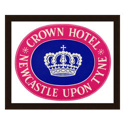 Soicher-Marin - Crown Hotel Newcastle - Giclee print with a mid mod matte light java brown with burnish edges recycable polystrene frame.  Include glass, eyes and wire. Made in the USA. Wipe down with damp cloth