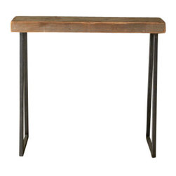 "Urban Wood Goods - Brooklyn Modern Rustic Reclaimed Wood Console Table - Thick, 84"" x 11.5"" - The Brooklyn Modern Rustic Console table is a mix of old and new. Industrial gunmetal colored steel tapered legs pair with an Old growth reclaimed wood top that dates back over 100 years. Each top had a former life as a floor joist supporting barns, homes and buildings in the Chicago area and surrounding midwestern states."