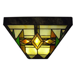 "8.5"" H Stained Glass LED Wall Sconce - Classically styled, this Mission Style wall sconce lights up a room with brown, green and beige shades of art glass. Wireless LED battery box (included) requires three Size D batteries (not included)or an AC Adapter (included) and comes with a hand remote control with three settings."