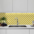 Herringbone Pattern Furniture Stencil - Herringbone pattern allover stencil for walls and furniture. This smaller-scale version of our classic herringbone stencil pattern is perfect for stenciling fabric, pillow, furniture and backsplash areas-as shown here.