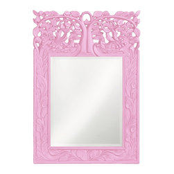 Howard Elliott - Oakvale Mirror - This rectangular mirror features a frame carved with a lovely leaf design reaching up to an ornate open work tree design. The piece is finished with our custom glossy pale pink lacquer.