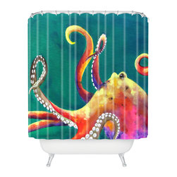 DENY Designs - Clara Nilles Mardi Gras Octopus Shower Curtain - Who says bathrooms can't be fun? To get the most bang for your buck, start with an artistic, inventive shower curtain. We've got endless options that will really make your bathroom pop. Heck, your guests may start spending a little extra time in there because of it!