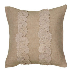 Rizzy Home - Rizzy Home Applique of Crochet Cotton Decorative Throw Pillow Multicolor - PILT0 - Shop for Pillows from Hayneedle.com! Accenting crochet appliques and a complimenting neutral color make the Rizzy Home Applique of Crochet Cotton Decorative Throw Pillow yours. The removable cover of this stylish throw pillow features a hidden zipper plush polyester insert and is made of 80% jute and 20% cotton.About Rizzy HomeRizwan Ansari and his brother Shamsu come from a family of rug artisans in India. Their design color and production skills have been passed from generation to generation. Known for meticulously crafted handmade wool rugs and quality textiles the Ansari family has built a flourishing home-fashion business from state-of-the-art facilities in India. In 2007 they established a rug-and-textiles distribution center in Calhoun Georgia. With more than 100 000 square feet of warehouse space the U.S. facility allows the company to further build on its reputation for excellence artistry and innovation. Their products include a wide selection of handmade and machine-made rugs as well as designer bed linens duvet sets quilts decorative pillows table linens and more. The family business prides itself on outstanding customer service a variety of price points and an array of designs and weaving techniques.