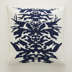"Horchow - Navy ""Inkblot"" Pillow - Intriguing designs rendered in bold strokes of navy equal pillows that add dramatic visual impact to any room. Handcrafted of linen. Designs on ""Brushstroke"" and ""Corner Circle"" pillows accented with strips of chiffon. Down inserts. Dry clean. ""Bru..."
