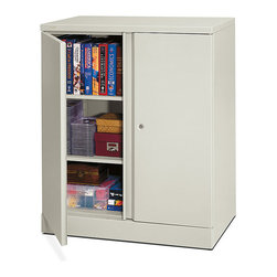 Hon - Basyx Metal Storage Cabinet - Does someone keep taking your stapler? Get this cabinet for your office space and you'll always know where the supplies are organized and, if needed, locked up tight. It's made of steel in a soft-gray finish and has three shelves to keep your stuff where you left it.