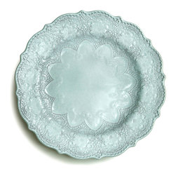 Marletto Aqua Dinner Plate - Add drama and romance to your dinner table with this sublime Italian ceramic plate.  The Merletto Aqua Dinner Plate is patterned with striking old-world lace designs that form a double ring of elegant scalloping, giving an aristocratic look to your presentation of a meal.  These broad bands of intricate lace suffuse your look with traditional heirloom motifs and subtle color.