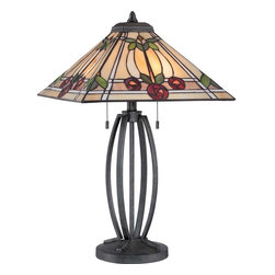 Quoizel - Quoizel Ruby Tiffany Table Lamp in Vintage Black - -Part of the Seaford Collection