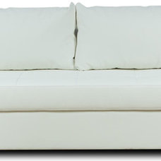 Modern Sofa Beds Eperny White Faux Leather Sleeper Couch