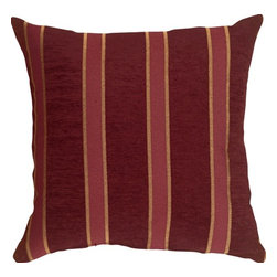 Pillow Decor Ltd. - Pillow Decor - Traditional Stripes in Wine 16 x 16 Decorative Pillow - This 16 inch square decorative pillow features classic stripes in red, wine and ocher. The deep wine stripes are in a soft chenille, and contrast beautifully with the durable weave of the lighter colored ocher and red stripes.