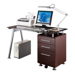 Techni Mobili Multifunction Glass Top Computer Desk - Chocolate - The Techni Mobili Multifunction Glass Top Computer Desk - Chocolate is a versatile computer desk with sleek, contemporary style. Featuring a 3-drawer cabinet in a rich chocolate laminate finish paired with a modern glass and powder-coated steel desk, this piece makes the perfect compact solution to any office setup. This multifunction desk includes a lock and key for its durable MDF letter size drawers and is very easy to assemble.About RTA ProductsRTA Products, located in Miramar, Fla., is focused on creating, producing, and distributing high-quality products. Their stellar combination of price, quality, and service continually exceeds the expectations of customers and consumers. Many products are subjected to independent tests separate from the company, ensuring each item is developed with the customer in mind.