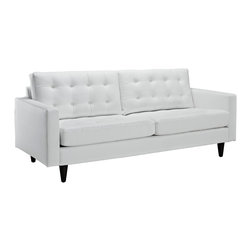Empress Leather Sofa - End the rule of unjust sovereignties that wage a useless war for your interiors. Empress leaves the would be heiress of holistic furnishings in the dust, with a design that rivals any competitor. Empress is heralded with deeply tufted buttons, plush cushions and armrests that convey that perfect air of nobility. The solid wood legs come with plastic glides to prevent floor scratching, and the bonded leather upholstery leaves the recipients feeling richly rewarded.