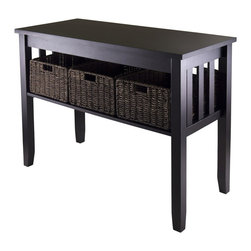 """Winsome Wood - Winsome Wood Morris Console Hall Table w/ 3 Foldable Baskets - Console Hall Table w/ 3 Foldable Baskets belongs to Morris Collection by Winsome Wood Morris Collection is perfect tables with plenty of storage. Console Table is 40""""W x 18.11""""D x 29.92""""H with 1 sections opening 35.28""""W x 16.77""""D x 9.84""""H. Table comes with three foldable baskets made from Corn Husk, size 16""""W x 11""""D x 7""""H. Table made from solid and composite wood. Assembly Required. Console Table (1), Basket (3)"""