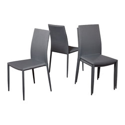 Great Deal Furniture - Baxley Charcoal Fabric Dining Chairs (Set of 4) - The Baxley Dining Chairs offer a modern look with the unique twist of a steel tube frame. These sleek chairs can function as dining chairs or accent pieces and will compliment any decor in your home