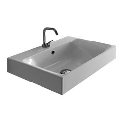 WS Bath Collections - Cento 3532 Ceramic Sink - No need to overthink your sink. This sleek, basic basin, designed by Marc Sadler of Italy, works on a counter or mounted to the wall to bring effortless elegance to your home.