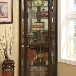 "Coaster - 950175 Corner Curio Cabinet - Utilize that empty corner in your dining room or living room with this accent cabinet finished in a rich brown. Featuring plenty of shelf space, a mirrored back and canned lighting.; Dimensions: 32.50""L x 21.75""W x 82.25""H"