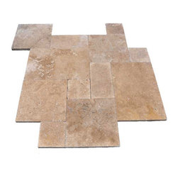 "French Pattern Noche Travertine Pavers - Tumbled - Our PREMIUM SELECT Noche French Pattern Tumbled Travertine Pavers are dark brown in color - a few shades darker than our Walnut Tumbled Travertine Pavers. Although some variation in color is to be expected, it is overall very consistent throughout. 1.25"" thick."