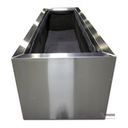 """Stainless steel planters - Custom made stainless steel planter 10' long x 36"""" wide."""