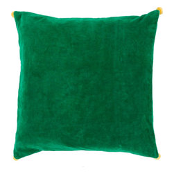 """Surya - Surya VP-006 Vivacious Velvet Pillow, 20"""" x 20"""", Down Feather Filler - Both fun and functional, this is the perfect pillow to update your home's decor. Featuring a solid green backdrop paired harmoniously with intricate yellow pom poms added to each corner, this pillow is a classic solution to renovating any space. This pillow contains a zipper closure and provides a reliable and affordable solution to updating your home's decor. Genuinely faultless in aspects of construction and style, this piece embodies impeccable artistry while maintaining principles of affordability and durable design, making it the ideal accent for your decor."""