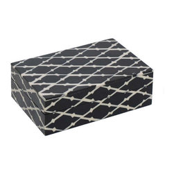 Black and White Wooden Box - Black and white decorative wooden box features a unique cross-hatch design.
