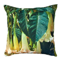 DD - Trumpet Flowers Outdoor Pillow - This unique leaves outdoor pillow will bring a soft vibe to your backyard that will bring everyone serenity and zen