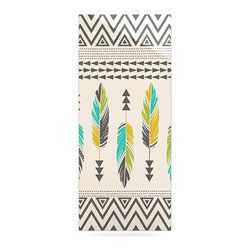 "Kess InHouse - Amanda Lane ""Painted Feathers Cream"" Tan Tribal Metal Luxe Panel (9"" x 21"") - Our luxe KESS InHouse art panels are the perfect addition to your super fab living room, dining room, bedroom or bathroom. Heck, we have customers that have them in their sunrooms. These items are the art equivalent to flat screens. They offer a bright splash of color in a sleek and elegant way. They are available in square and rectangle sizes. Comes with a shadow mount for an even sleeker finish. By infusing the dyes of the artwork directly onto specially coated metal panels, the artwork is extremely durable and will showcase the exceptional detail. Use them together to make large art installations or showcase them individually. Our KESS InHouse Art Panels will jump off your walls. We can't wait to see what our interior design savvy clients will come up with next."