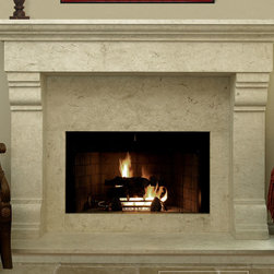 Monte Cruz #304 Hand Carved Natural Stone Fireplace Mantel - The Monte Cruz #304 is a nationwide best-seller. This Tuscan/Mediterranean design offers a symmetrical approach with its simple lines and beautiful proportions. This mantel is recommended in a honed or sandblasted finish.