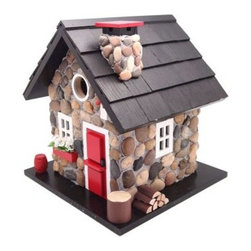 Home Bazaar Windy Ridge Birdhouse - More than decorative, the Home Bazaar Windy Ridge Birdhouse is every bird's dream home - it even has a front porch! This adorable Cottage Charmer Series birdhouse features a stone chimney with cap, red front door and flower box, and a variety of cute details that that give this unique birdhouse personality. Your new birdhouse also comes with a mounting plate for easy installation on a wooden 4x4 and a steel cable for hanging from a tree limb or your back patio.About Home BazaarCombining their love of birds and nature with their technical and design abilities, the people of Home Bazaar set out to create the world's most spectacular line of birdhouses and birdfeeders in 1999. They've even created a line of architectural birdhouses, feeders, pedestals, and garden accessories. These items are created using only the finest materials and with painstaking attention to detail. Each product is manufactured for functional use and to be enjoyed for years. Distinctive bird houses and feeders can be matched with accommodating pedestals and these pieces can be placed in the backyard or the garden. Cottage designs and pieces with Victorian scrollwork often end up on covered porches or inside the home as decorative accents.