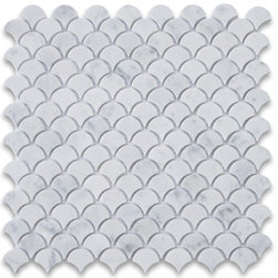 Stone Center Corp - Carrara White Marble Medium Fish Scale Fan Shaped Mosaic Tile Polished - Premium Grade Shell Shaped Carrara Marble Mosaic tiles. Italian Bianco Carrera White Venato Carrara Polished 12 x 12 Medium Fish Scale Fan Shaped Mosaic Wall & Floor Tiles are perfect for any interior/exterior projects. The Carrara White Marble Shell Shaped Fish Scale Mosaic tiles can be used for a bathroom flooring, shower surround, gardern, paving, balcony, corridor, terrace, spa, pool, fountain, etc. rs, and more.