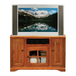 Eagle Furniture Manufacturers - Oak Ridge 3 Doors Corner TV Stand (Medium Oak) - Finish: Medium Oak. One arched glass panel door. Two raised panel doors. Two fixed wood shelves. Warranty: Eagle's products are guaranteed against material defects for one year from date of delivery to the dealer. Made in USA. No assembly required. 45.5 in. W x 17 in. D x 32 in. H (94.7 lbs.)The Oak Ridge collection combines American oak hardwood with updated contemporary styling. Heavy crown molding, sleek lines, fluted side molding, black brushed metal hardware, solid oak frames and solid oak recessed doors give this transitional collection a style all its own