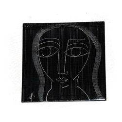 Used 1960's Abstract Mid Century Tile - An abstract Mid-Century tile, dating from the 1960s. This artistic piece features a woman drawn in white lines on the stark black background, and is signed in the corner. There are some light chips to the edges and a few scratches to the face. This tile was made by H&R Johnson, and has been professionally soaked, but still retains some of their mastic on the back side. This would make a fantastic  addition to your next DIY tile project!