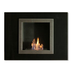 "Ignis Fireplaces - Ignis Villa Mini Recessed Fireplace - Lend stylish flair and contemporary charm to your space with this Villa Mini Recessed Ventless Ethanol Fireplace. This classy fireplace has the features you really want without the mess and fuss of a traditional fireplace and minus the need to install lines or even have a chimney. This fireplace features a sleek stainless steel inner frame and a black glass outer frame. It comes with a 1.5-liter ethanol burner that sits inside to add warmth and inviting beauty to any room. Each refill burns up to five hours so you can set it and forget it while you entertain before an open flame. Dimensions: 31.5"" x 23.6"" x 6.5""."