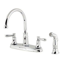 Price Pfister - Price Pfister F-036-CL4C Harbor 4-Hole Double Handle Lead Free Kitchen Faucet wi - Price Pfister F-036-CL4C Harbor 4-Hole Double Handle Lead Free Kitchen Faucet with Side Spray in Polished ChromeThe Harbor Collection has a slight touch of the coast, aesthetically coexisting with any color scheme or decor.  This Kitchen faucet has an uncomplicated style with decorative spout and matching Side Spray that will compliment your kitchen interior.Price Pfister F-036-CL4C Harbor 4-Hole Double Handle Lead Free Kitchen Faucet with Side Spray in Polished Chrome, Features:• 4 Hole