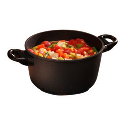 "Swiss Diamond - Induction Nonstick Soup Pot - 5.5 qt (9.5"") - The 5.5 qt. (9.5 in.) Swiss Diamond Induction Soup Pot is ideal for preparing, cooking, and serving your favorite soups, sauces, pasta, vegetables, seafood, and more. The wide cast-aluminum bottom allows sauting of ingredients before liquids are added for even more delicious cooking results. The tight-fitting glass lid features a metal rim and an adjustable vent for superior steam control. Swiss Diamonds patented nonstick coating ensures easy clean-up with just warm, soapy water and a gentle sponge. This item is ideal for preparing family dinners or simply cooking large batches and freezing the leftovers for a meal that will last all week."