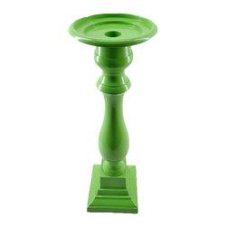 Powder Coated Aluminum Pillar Candle Holder, Green, Medium - Metal pillar candleholder. Made in India. Wipe clean.