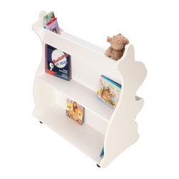 Ace Baby Furniture - White Rabbit Mobile Double-Sided Bookcase - A wonderfully whimsical way to add much needed storage to any little one's bed or playroom, this bookcase has plenty of space for all their toys, books and trinkets.   36'' W x 41.5'' H x 19.75'' D Pressed wood Assembly required Made in the USA