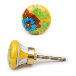 """Knobco - Flowers With Greenery Knob, Yellow Cabinet Knob With Turquoise, Brown And Green - Yellow cabinet knob with turquoise, brown and green floral design from Jaipur, India. Unique, decorative ceramic cabinet hardware for your kitchen or bathroom cabinets. 1.5"""" in diameter. Includes screws for installation."""