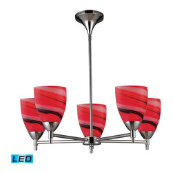Elk Lighting - Jorgenson 4-Light Chandelier in Polished Nickel - The Jorgenson Collection stylishly bridges the gap between mid-century modern furniture design and lighting. This collection was designed using solid wood that emulates the tapered angle of fine furniture legs and angular metalwork that compliments its sleek style. Choose between two combinations of taupe wood, polished nickel metalwork and champagne fabric shades, or mahogany finished wood, satin brass metalwork and tan crosshatch textured linen shades.