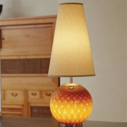 Union Street Glass - Aptos Orb Table Lamp - Bring the warm colors of Nature indoors with Aptos Lighting from Guy  Corrie. These stunning lamps (Tabac shown) are illuminated at the base  (40W bulb) as well as the shade (100W bulb); and can be controlled  independently for ambiance, task or together as illuminating art for the  home.