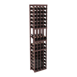 4 Column Display Row Cellar Kit in Pine with Walnut Stain + Satin Finish - Make your best vintage the focal point of your wine cellar. Four of your best bottles are presented at 30° angles on a high-reveal display. Our wine cellar kits are constructed to industry-leading standards. You'll be satisfied with the quality. We guarantee it.