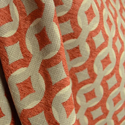 Swavelle - Talvin Poppy Chenille Trellis Upholstery Swavelle Fabric By The Yard - Talvin in the color Poppy is a grey and orange upholstery weight fabric. This chenille trellis pattern from Swavelle is great for any project; bedding, pillows, ottomans.